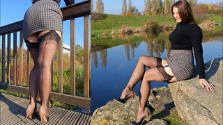 Stockings and Tight Mini Skirt - In FF Nylons on a trip | Kats little world