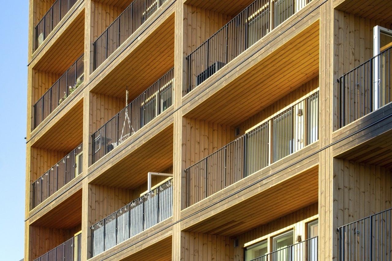 Девятиэтажка из деревянных элементов, Швеция