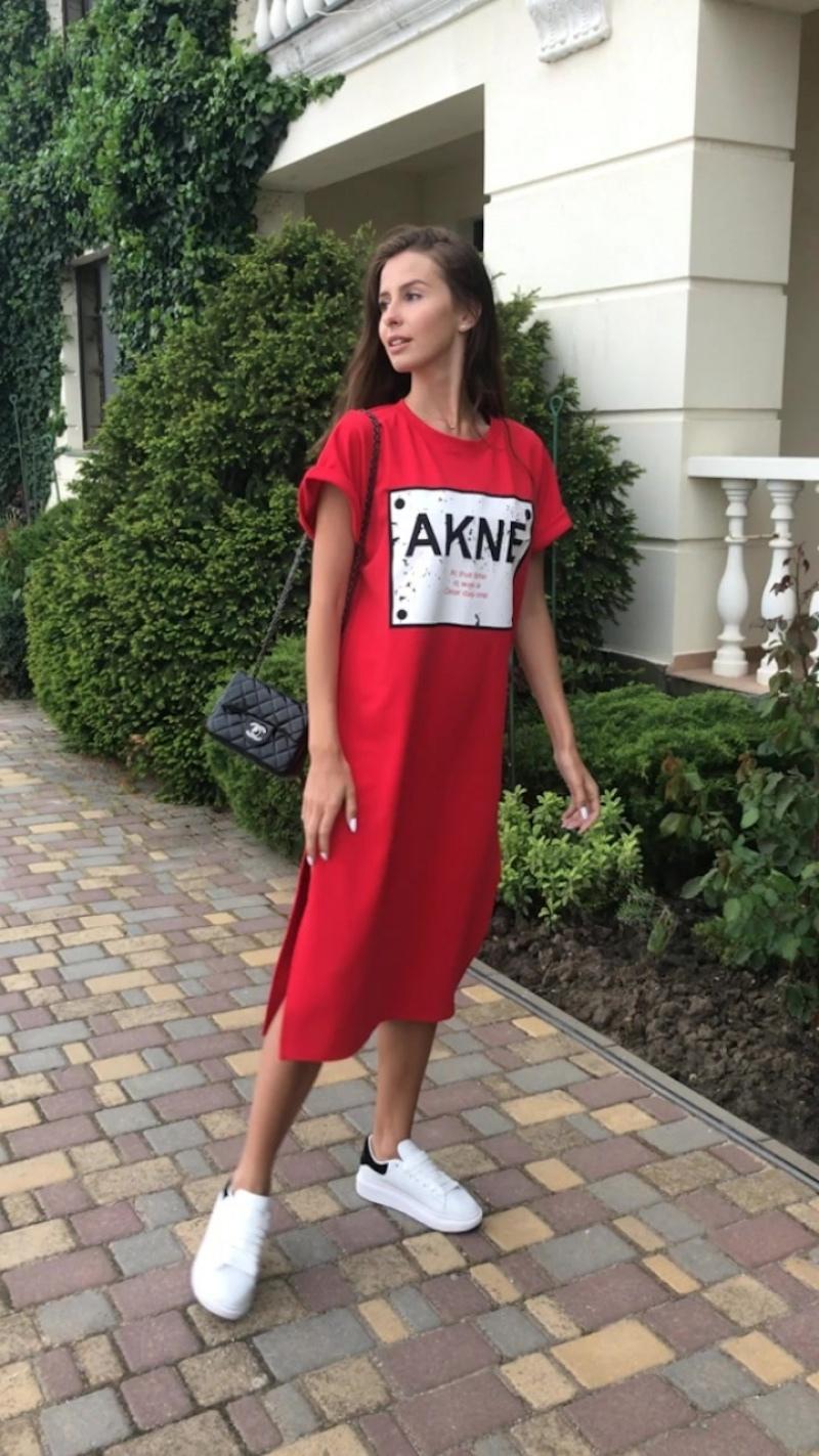 Платье-футболка красное