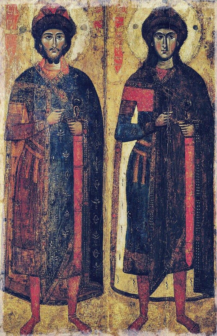 Святые Борис и Глеб, икона нач. ΧΙV в.