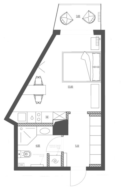 Квартира 28 м нестандартной формы в Санкт-Петербурге.