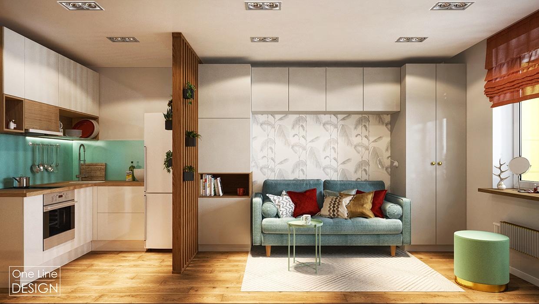 Проект квартиры 30 м (с балконом – 35 м).