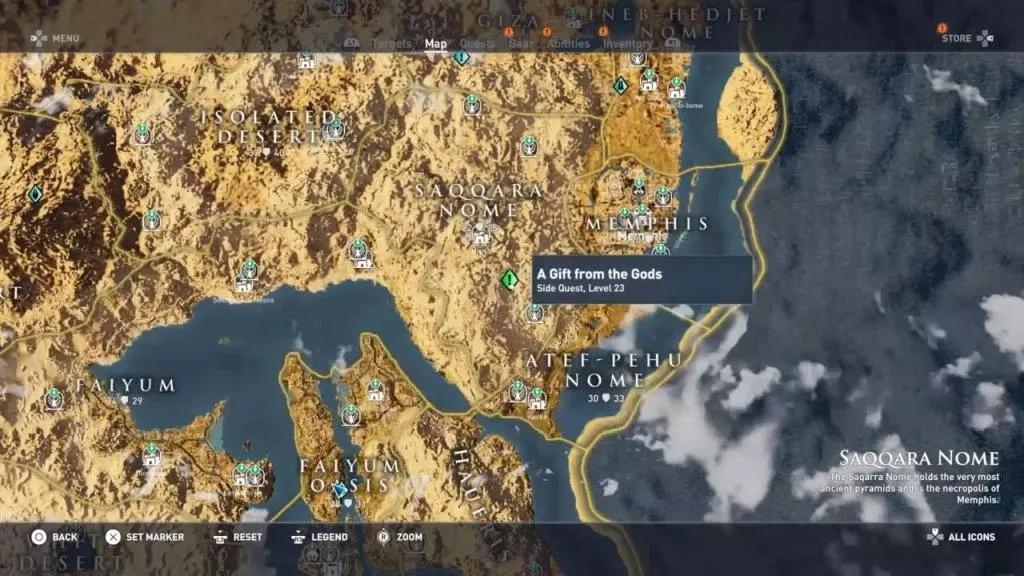Карта расположения квеста Дар богов