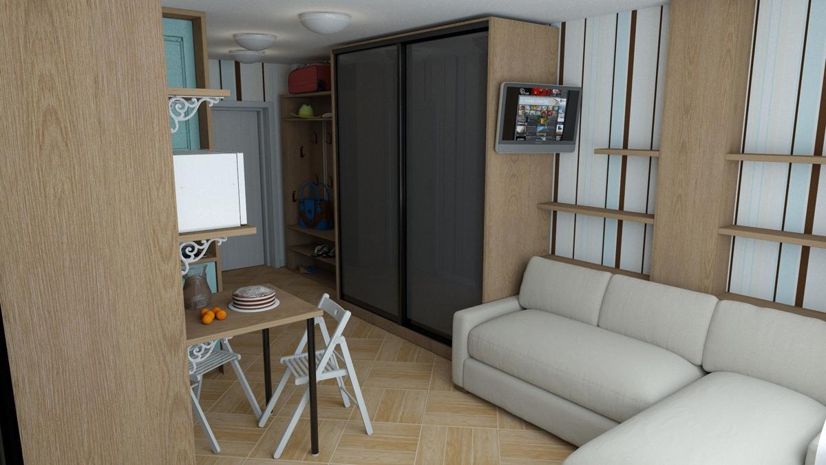 Проект маленькой квартиры-студии 21,5 кв.