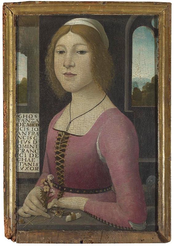 Портрет Костанцы Каэтани (около 1480-1490) с булавками, наперстком и швейной иглой. Итальянский художник Domenico Ghirlandaio (1449 - 1494)
