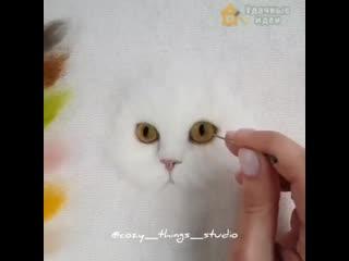 Портрет котика в технике сухого валяния