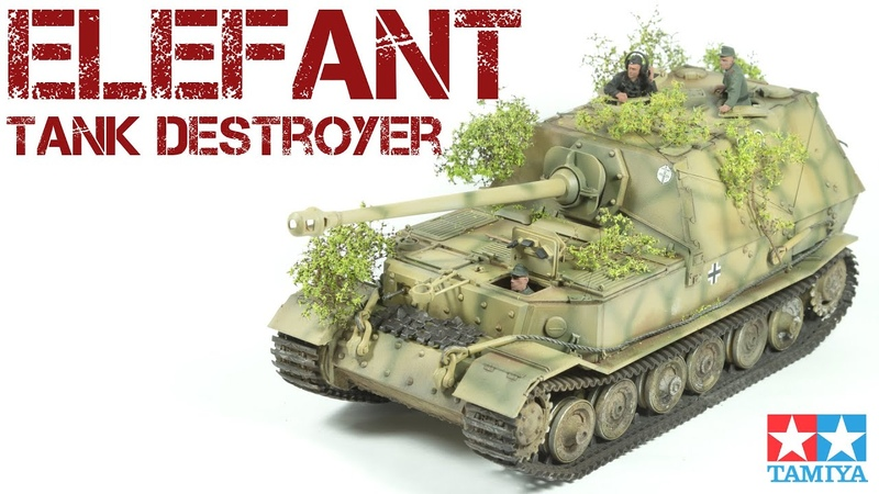 Elefant tank destroyer with foliage camouflage full build Tamiya 1 35 scale model