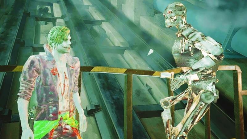 Joker VS Endoskeleton Terminator T800 Epic Battle RE2 Modd w Voice Over