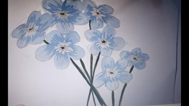 Как нарисовать незабудки flowers How to draw forget me nots