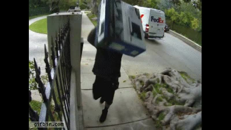 FedEx guy throws computer monitor over the fence