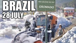 😱 Возможно, Бог сошел с ума !? Бразилия засыпана снегом! ❄⛄ Невероятно!_GOD has gone MAD! Brazil is covered with snow!  Incredible! Gramado 28 July