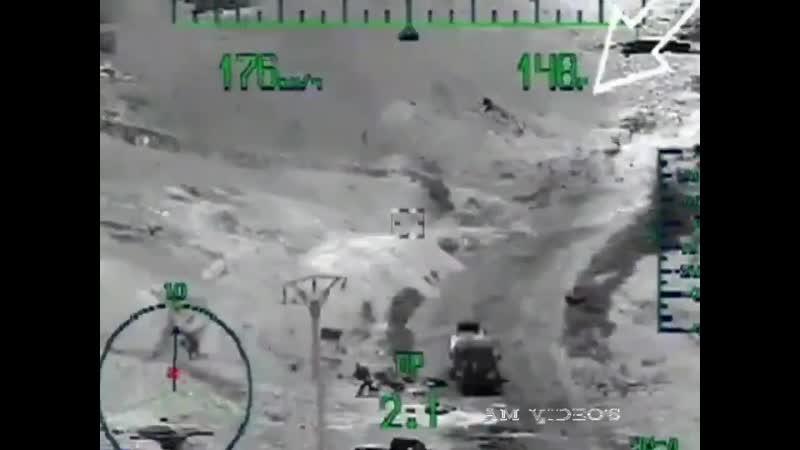 Ми 28Н ВКС РФ выносит пикап боевиков ракетой