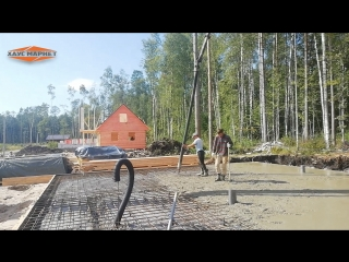 Заливка фундамента каркасного дома с применением насоса. Хаус Маркет