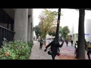 Antifa black bloc chased a man into an alley in Sacramento, Cal. and beat him with weapons yesterday