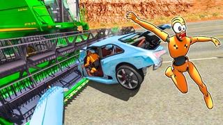 Машины фермеров против тачек BeamNG Комбайн трактор и БЕЛАЗ в игровых дорожных авариях