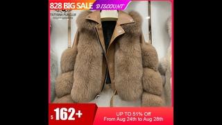 Модные пальто с натуральным лисьим мехом из натуральной овечьей кожи, оптовая продажа, куртка с натуральным лисьим мехом,