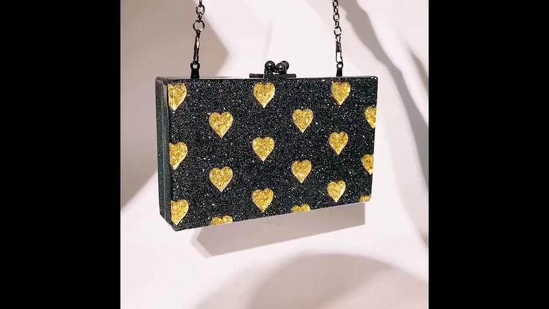 Black high quality love heart pattern stitching ladies evening clutch bag HC OC4061